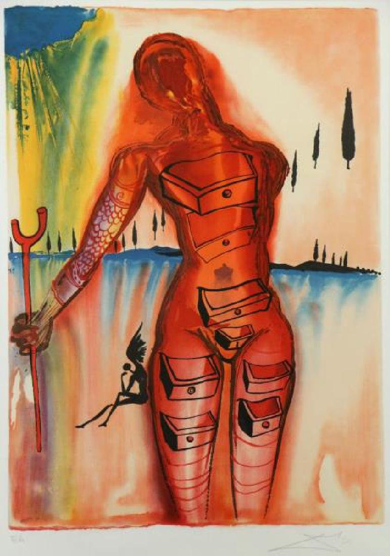 "DALI, Salvador. Lithograph. ""Venus with Drawers."""