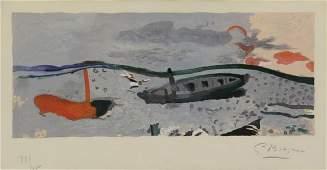 """BRAQUE, George. Lithograph. """"Bord de Mer"""" 1960."""