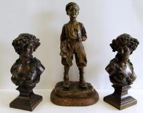 """Boy with Cigarette"" Bronze Sculpture by J."