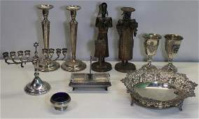 STERLING. Assorted Grouping of Silver and Judaica.