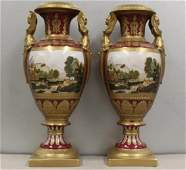 Pair Of Limoges Signed Porcelain Urns