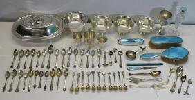 STERLING. Assorted Silver Hollow Ware and Flatware