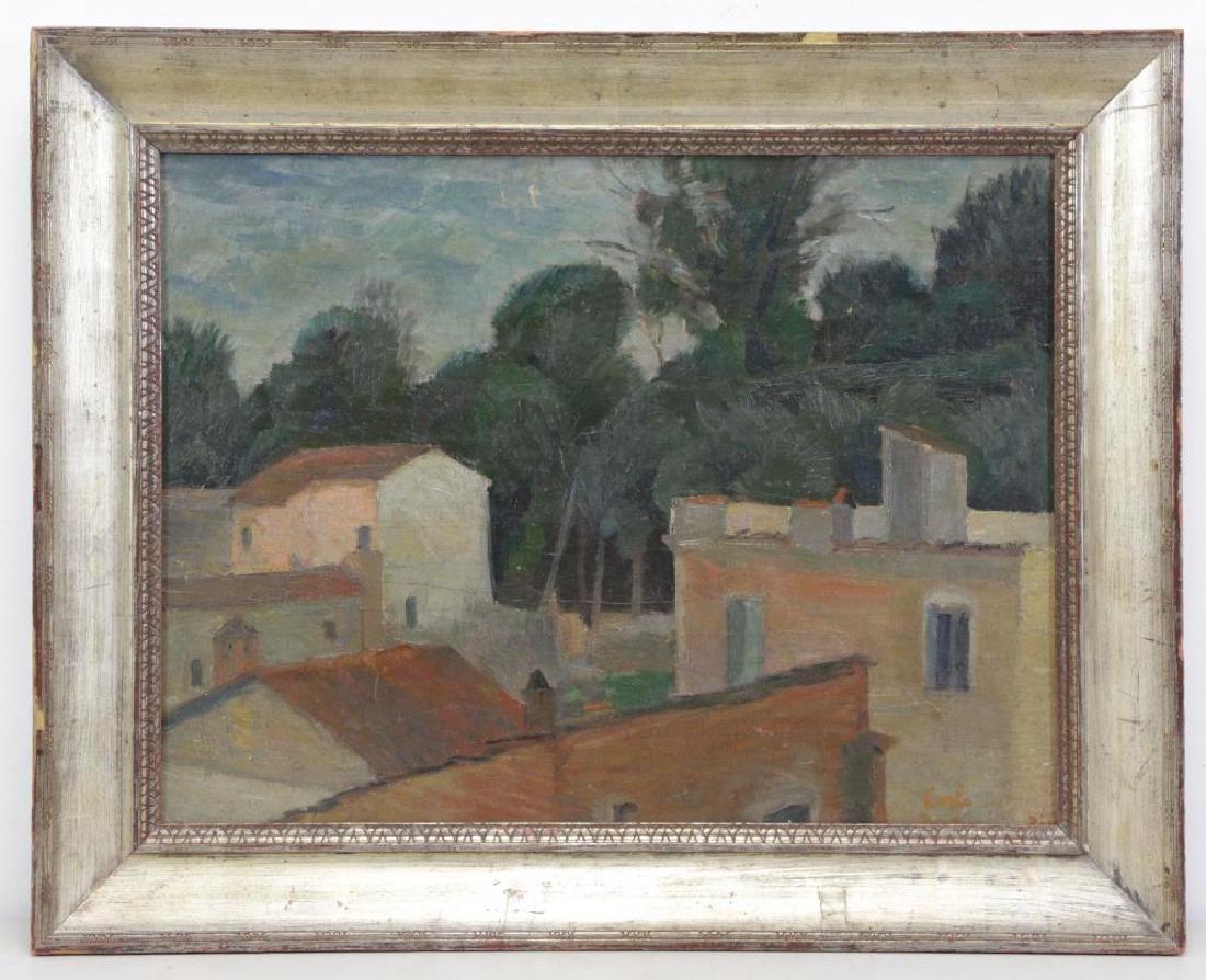 BARBEIRI, Carlo. Oil on Canvas. Italian Houses. - 2