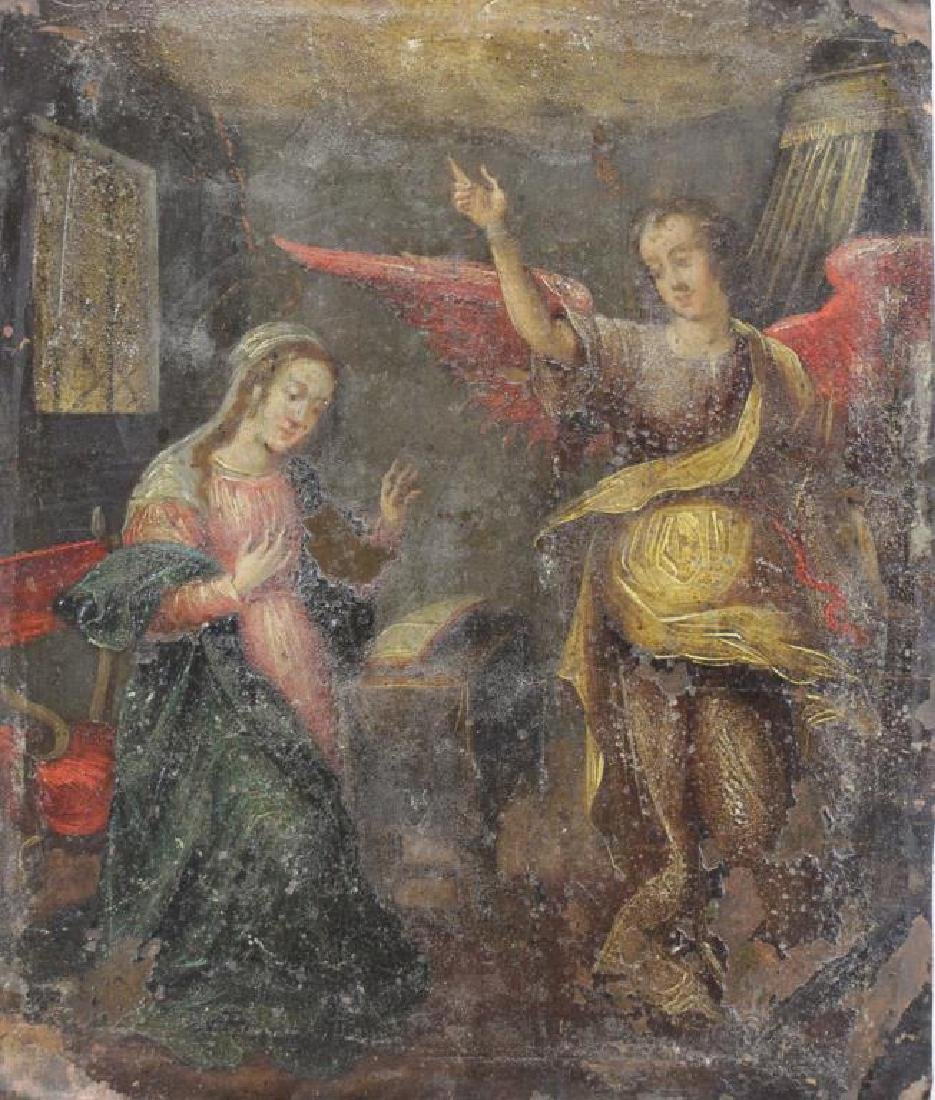 18th/19th C. Oil on Copper. The Annunciation.