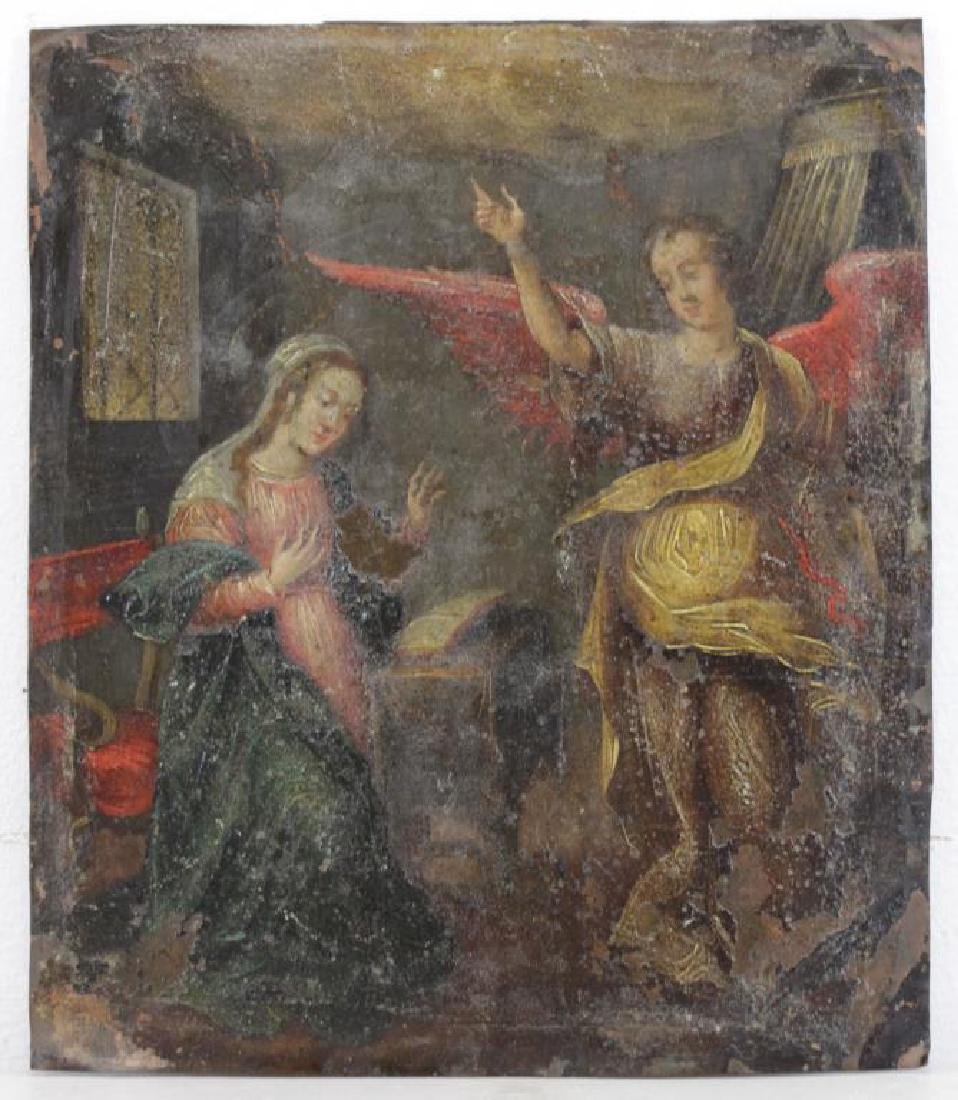 18th/19th C. Oil on Copper. The Annunciation. - 2