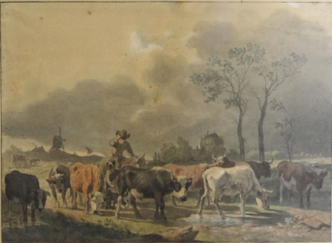 19th C. Dutch Watercolor on Paper of Cows in