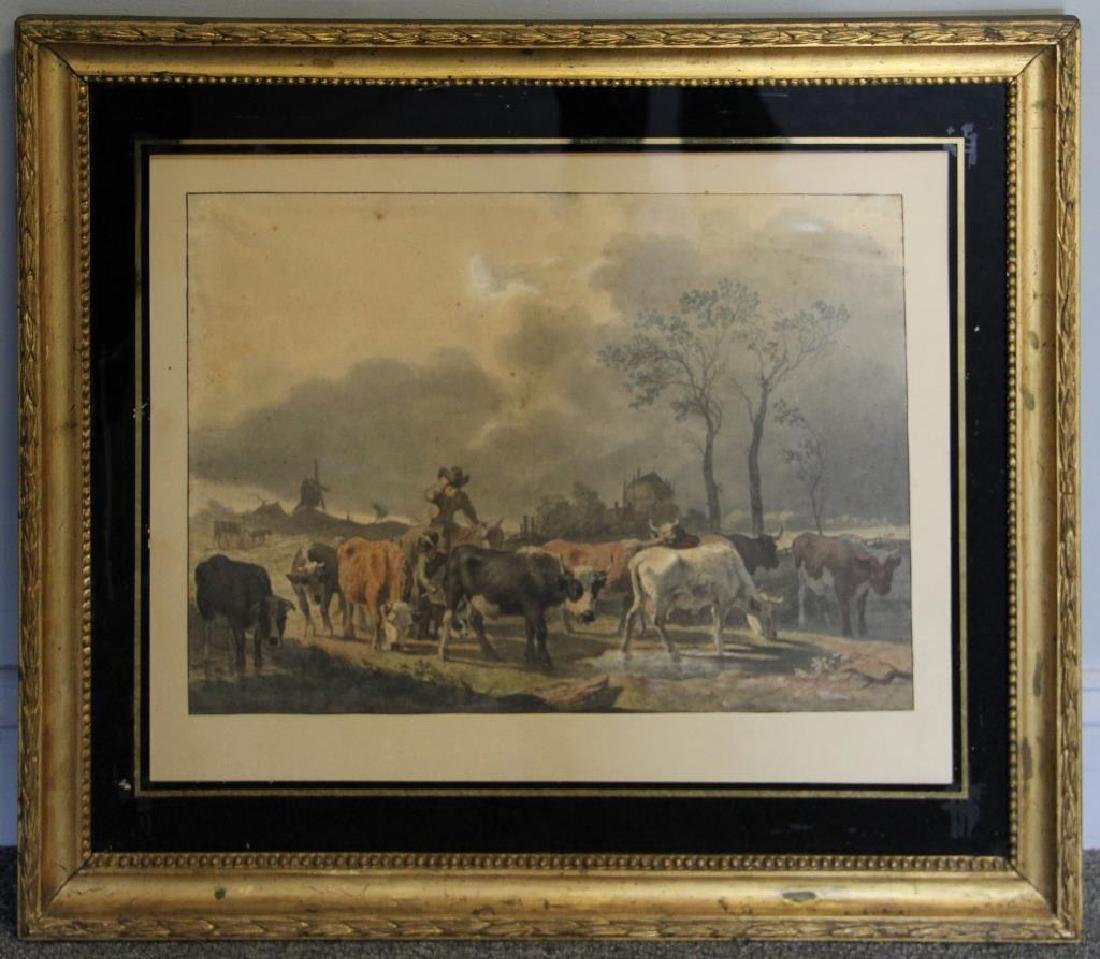 19th C. Dutch Watercolor on Paper of Cows in - 2