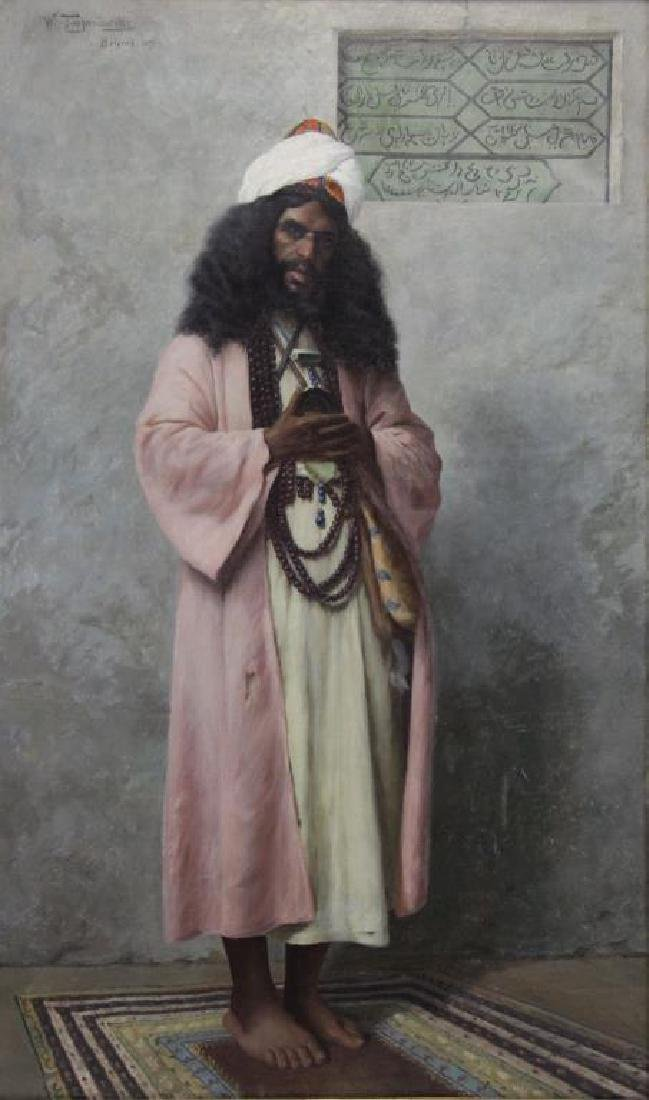 "TROJANOWSKI, Wincenty. ""Prayer"" Orientalist Oil on"