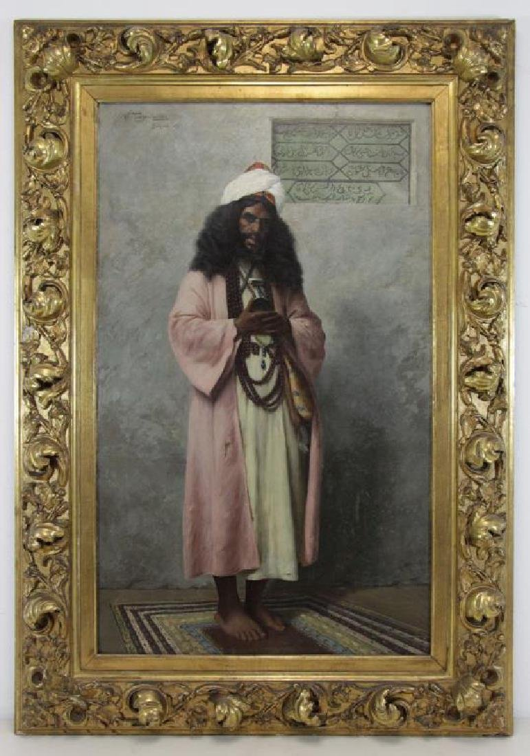 "TROJANOWSKI, Wincenty. ""Prayer"" Orientalist Oil on - 2"