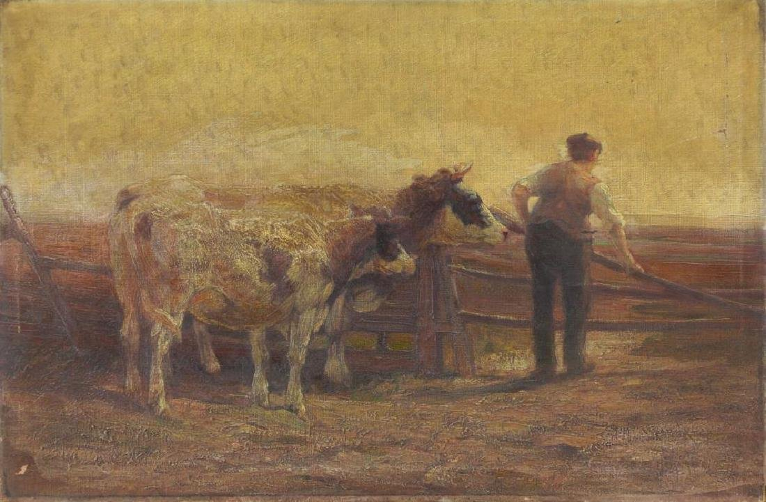 WALKER, Horatio. Oil on Canvas. Farmer with Cattle
