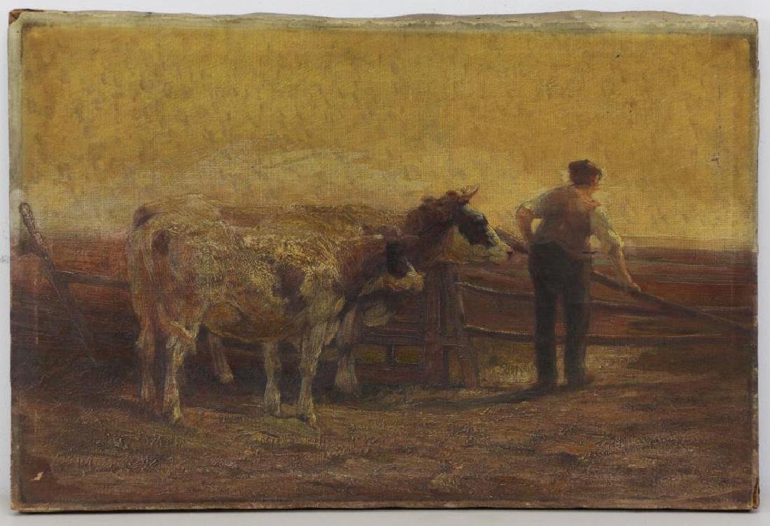 WALKER, Horatio. Oil on Canvas. Farmer with Cattle - 2