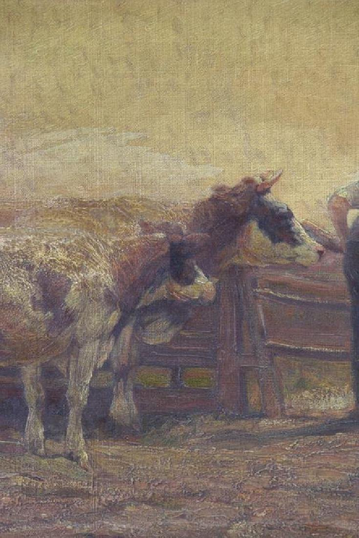WALKER, Horatio. Oil on Canvas. Farmer with Cattle - 3