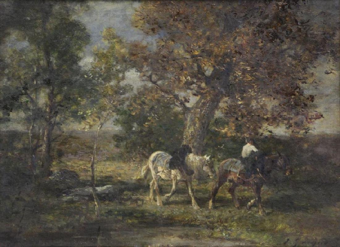 JACQUE, Emile. Oil on Canvas. Horses in Landscape.