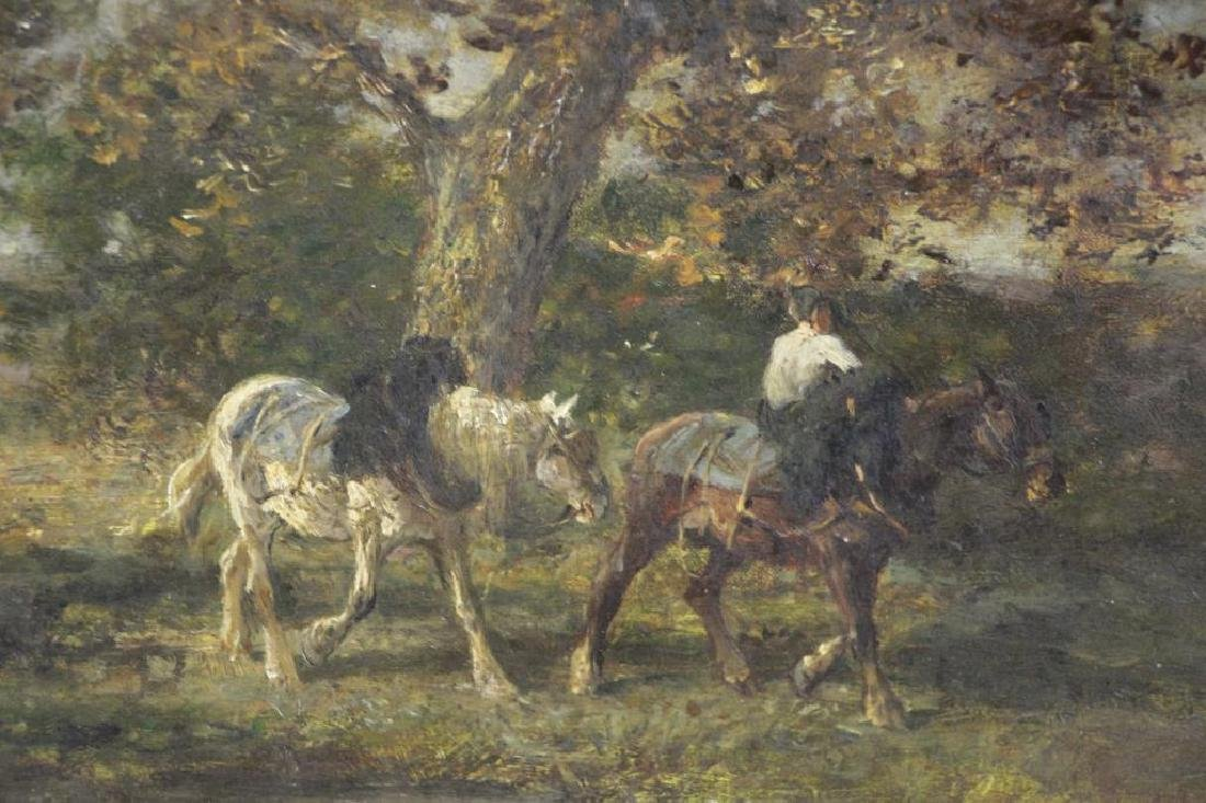 JACQUE, Emile. Oil on Canvas. Horses in Landscape. - 3