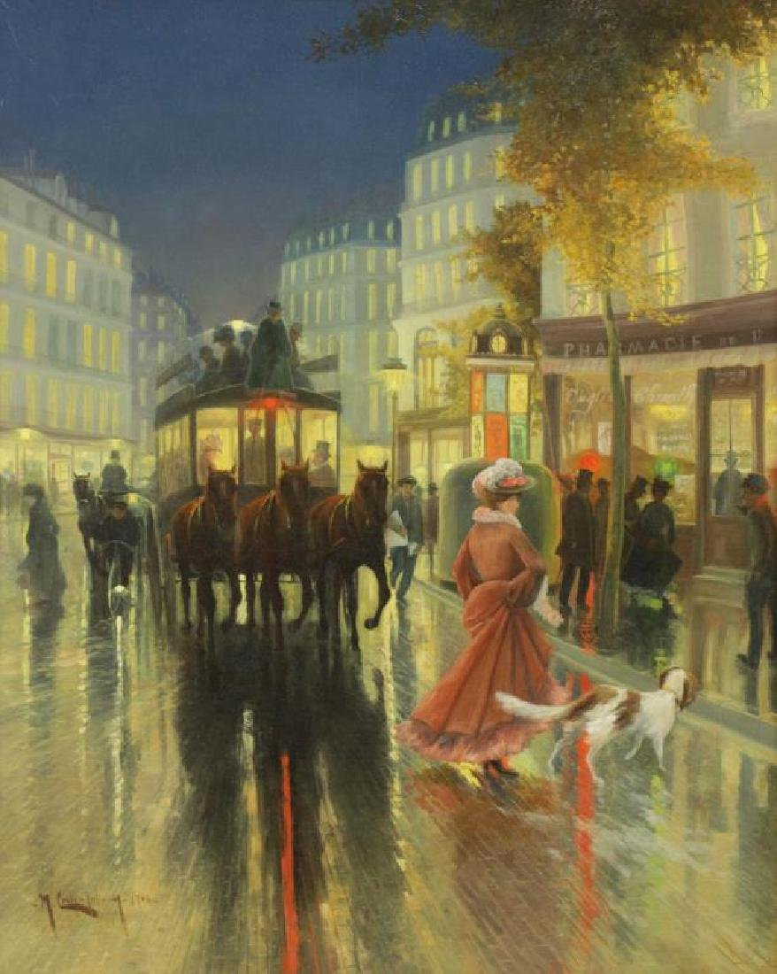 COULY, M. J. Oil on Canvas. View of Paris by Night