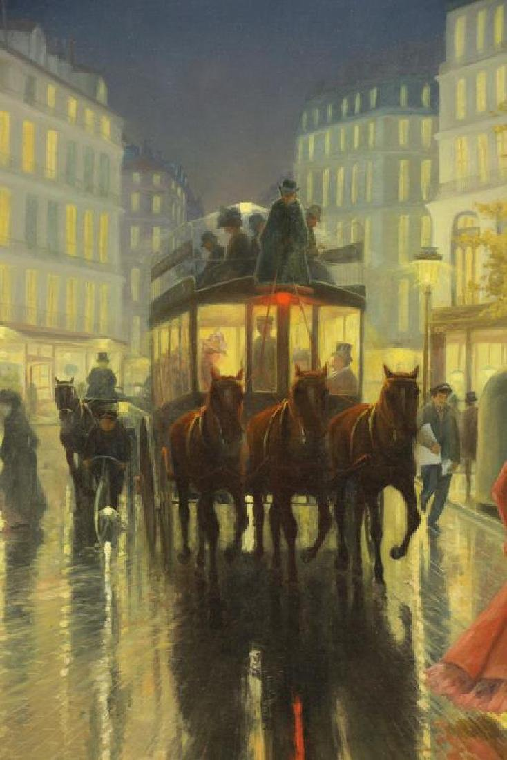 COULY, M. J. Oil on Canvas. View of Paris by Night - 3