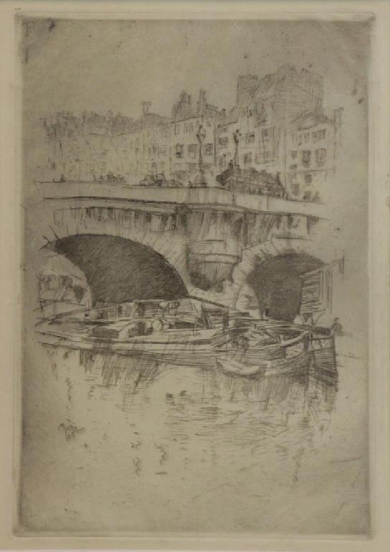 """MARIN, John. Etching """"Le Pont Neuf"""" 1905."""