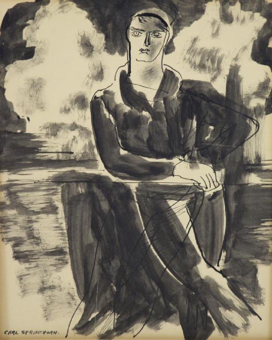 SPRINCHORN, Carl. Ink on Paper. Seated Woman.