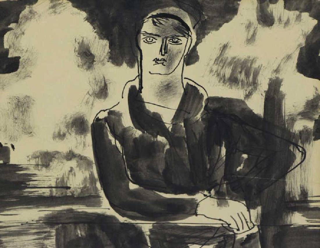 SPRINCHORN, Carl. Ink on Paper. Seated Woman. - 2