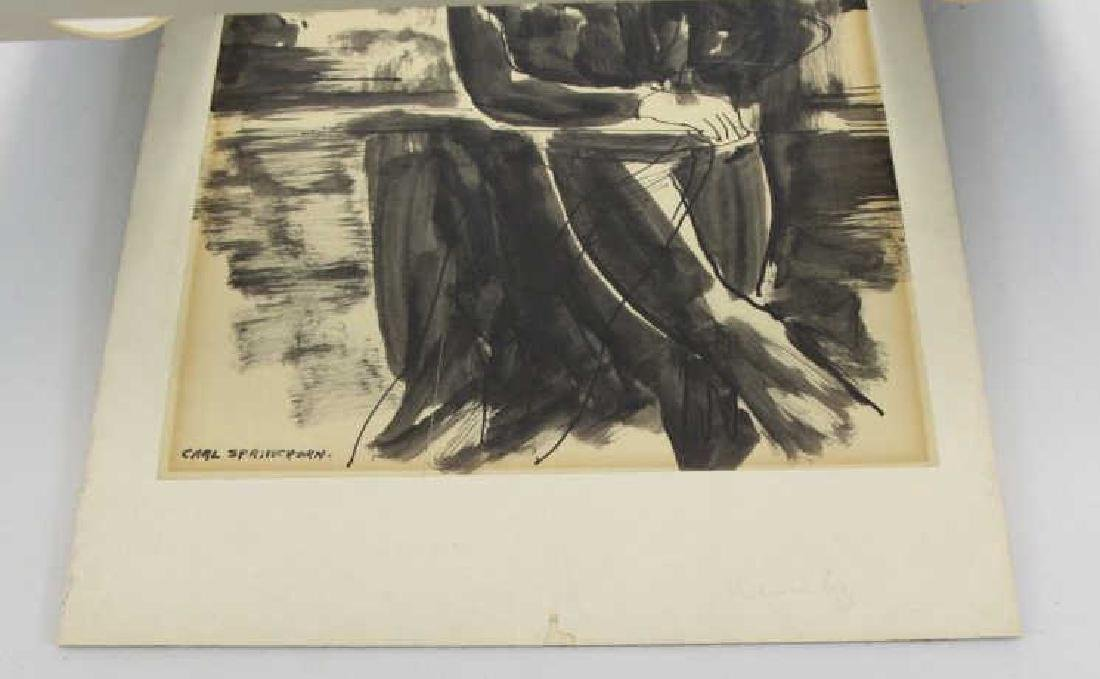 SPRINCHORN, Carl. Ink on Paper. Seated Woman. - 4