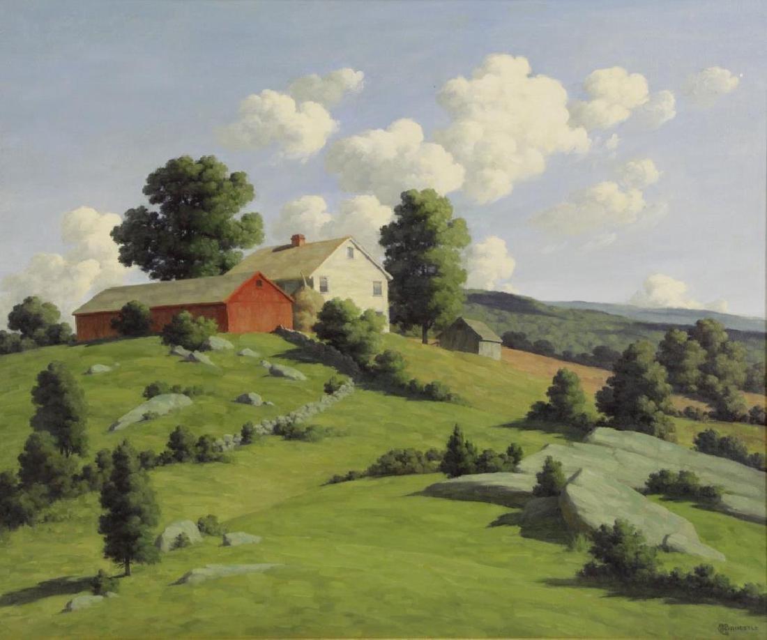 BRUESTLE, Bertram. Oil on Canvas. Farm House on a