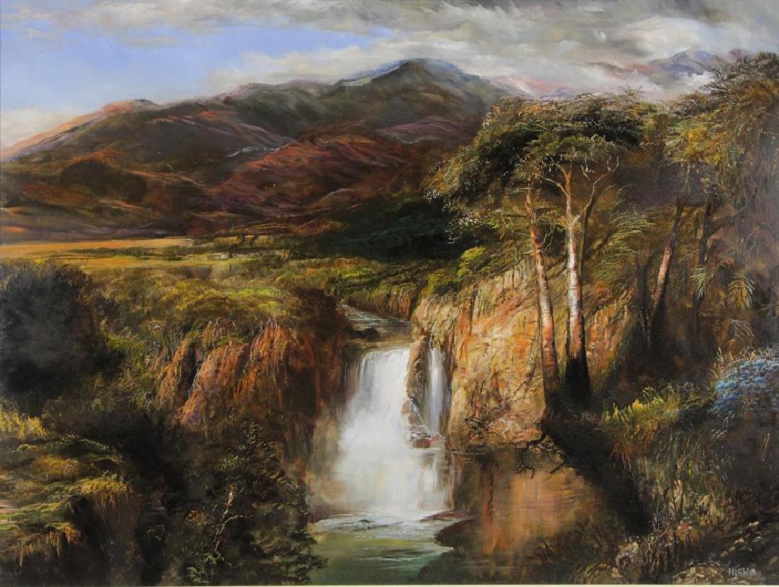 "HAMBLEN, Robert. Oil on Masonite. ""In the Andes"""