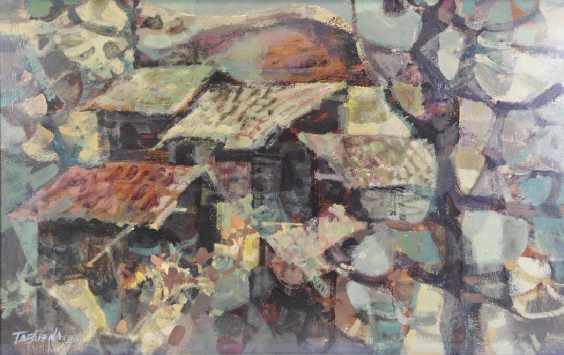 TABUENA, Romeo. Oil on Board. Houses in Landscape,