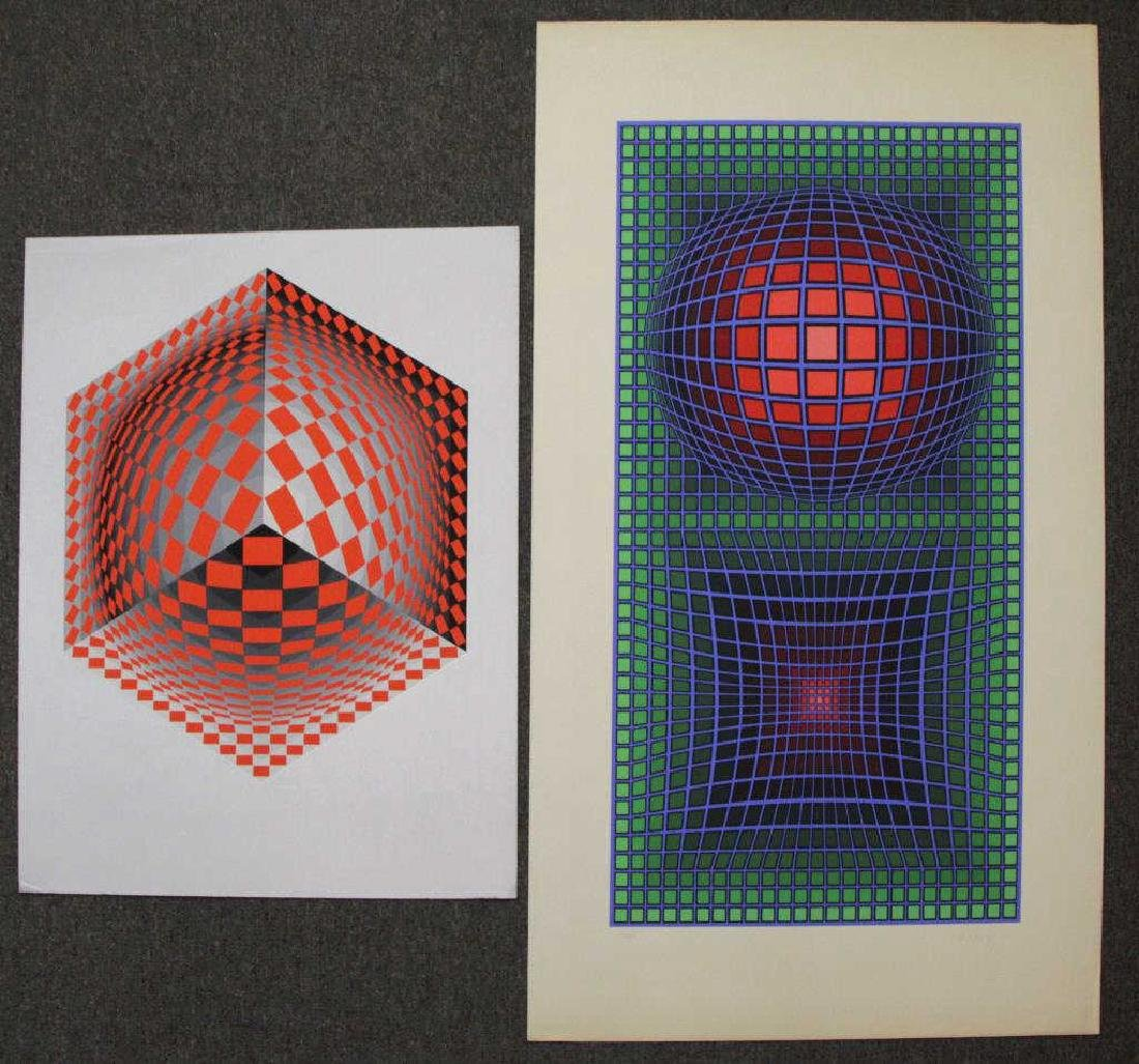 VASARELY, Victor. Two Signed Screenprints.