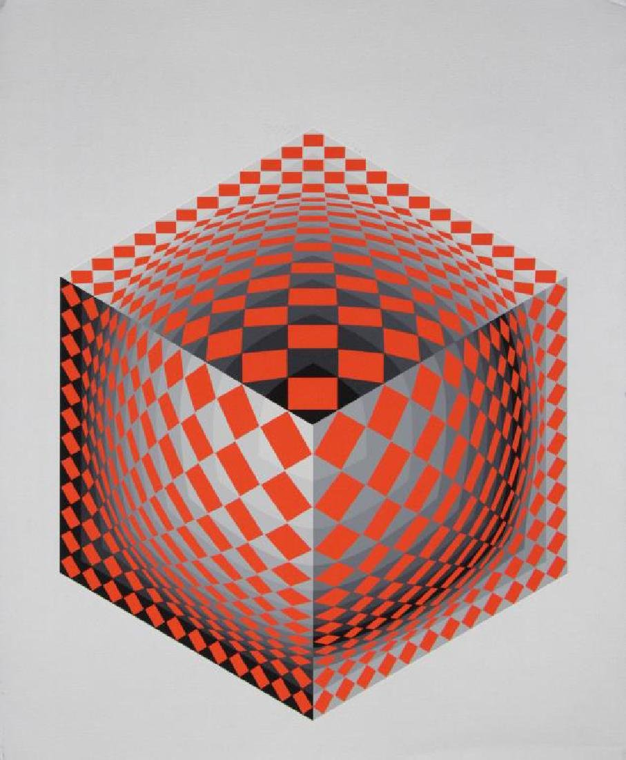 VASARELY, Victor. Two Signed Screenprints. - 2