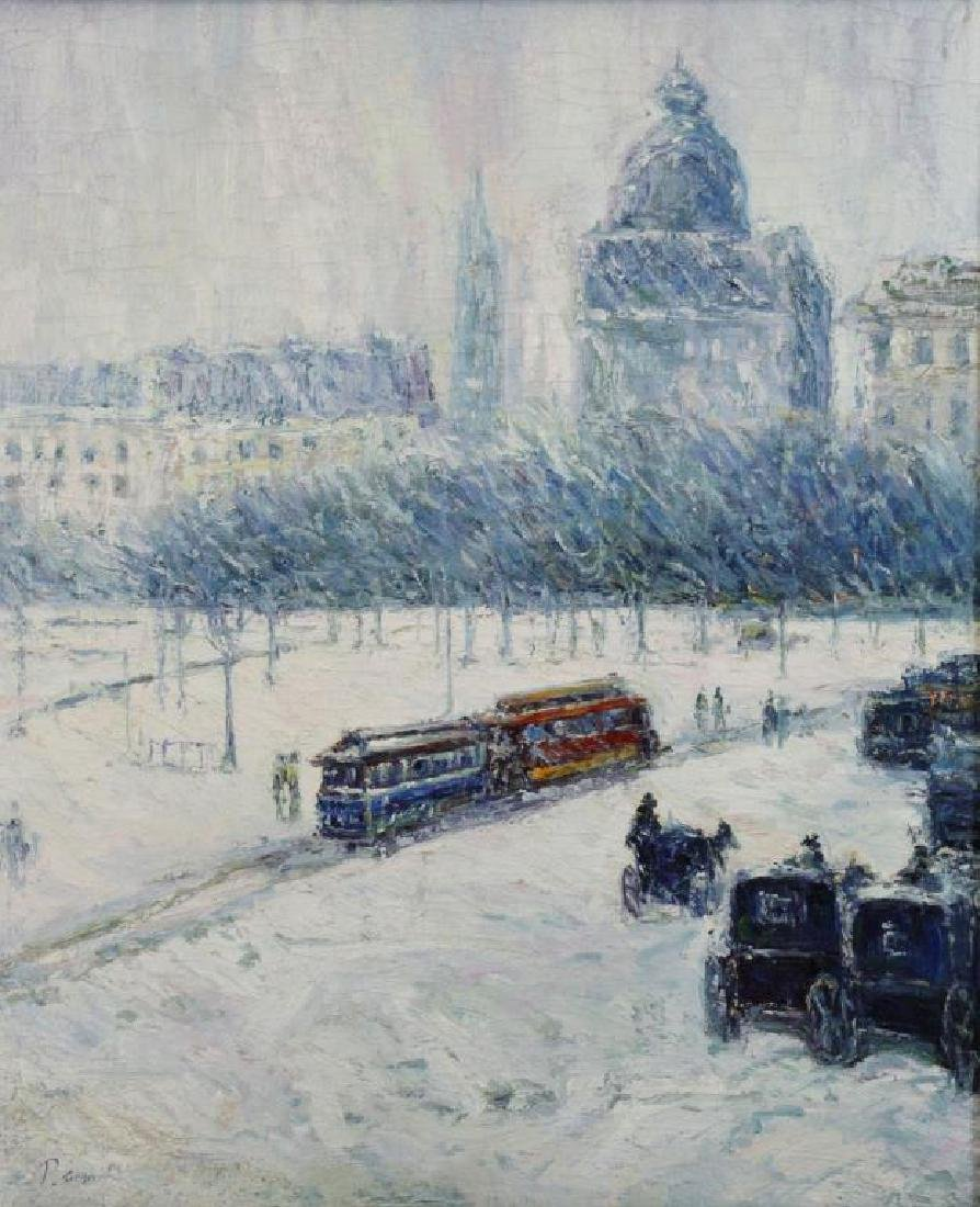 SIMON, P. Oil on Canvas. European Park in the Snow