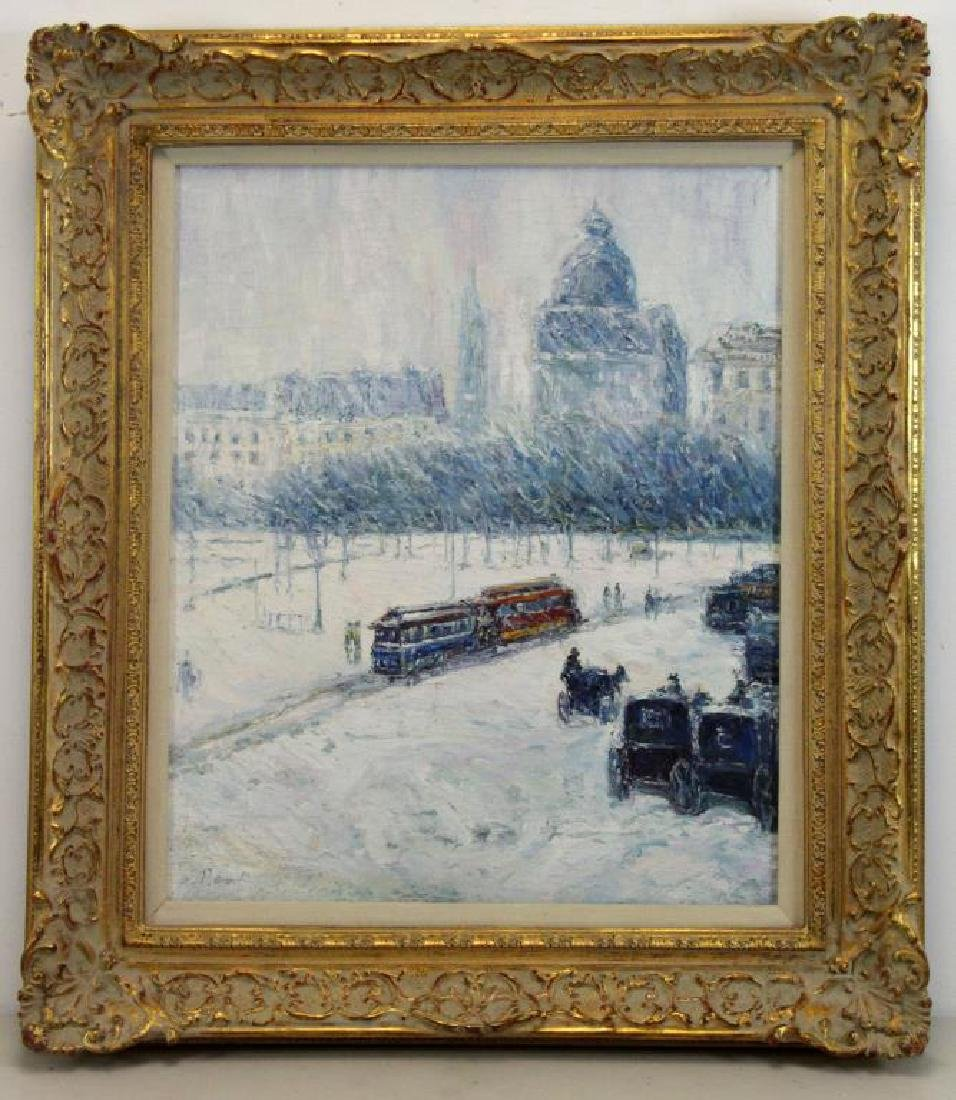 SIMON, P. Oil on Canvas. European Park in the Snow - 2