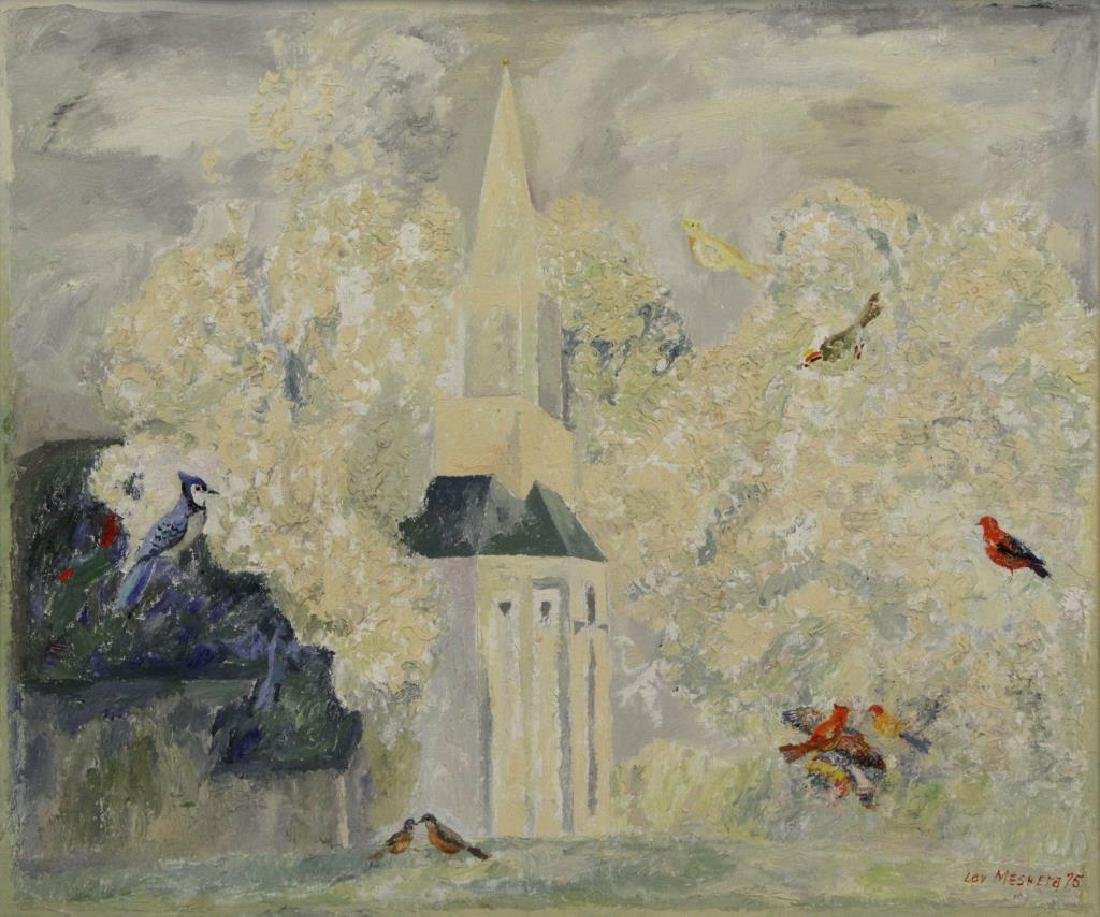 MESHBERG, Lev. Oil on Canvas. Church with Birds