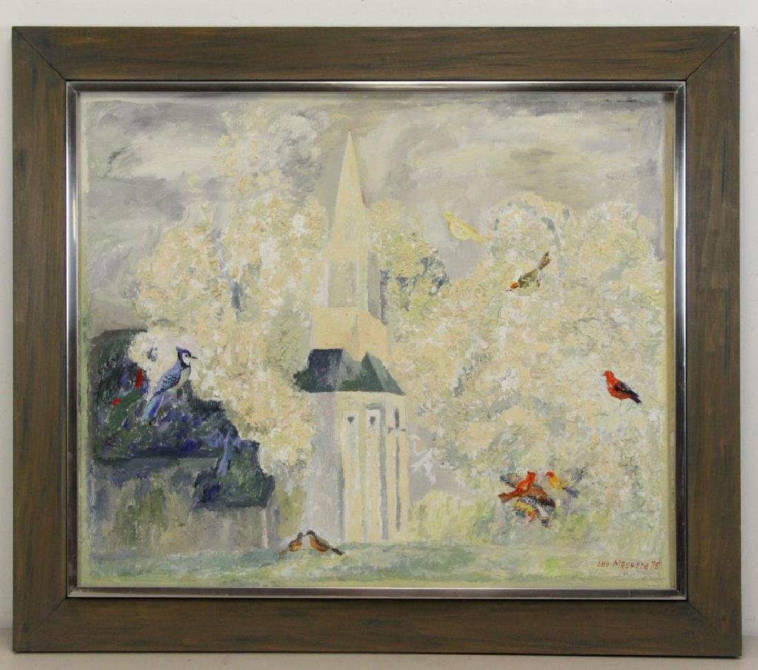 MESHBERG, Lev. Oil on Canvas. Church with Birds - 2
