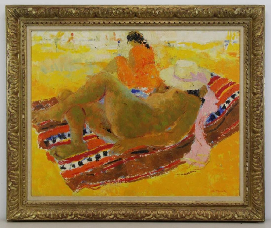 TAURELLE, Bernard. Oil on Canvas. Nude on the - 2