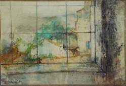 JANSEM, Jean. Oil on Canvas. View From the Window.