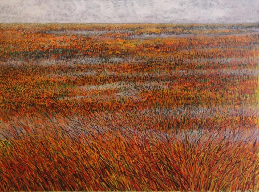 "PETERDI, Gabor. Oil on Canvas ""Red Salt Marsh"""