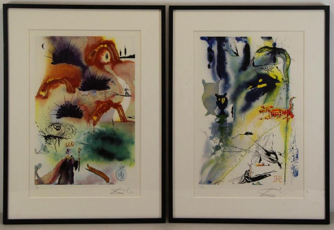 "DALI, Salvador (After). Two Lithographs From ""Alice in"