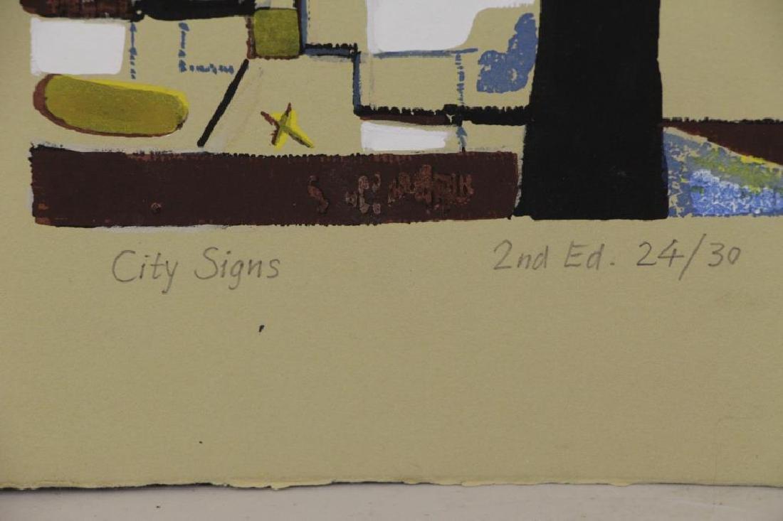 """HARARI, Hananiah. Screenprint """"City Signs"""" - 4"""