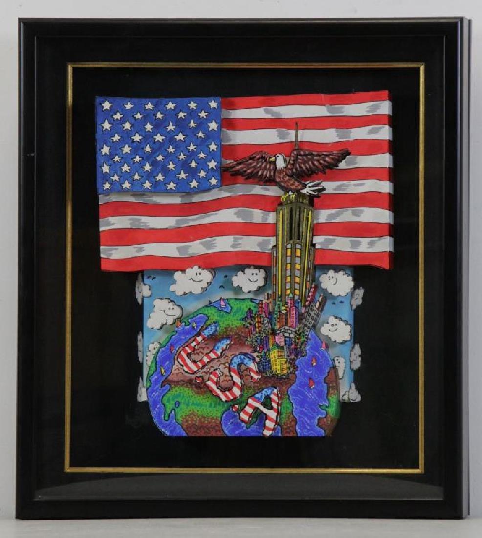 "FAZZINO, Charles. 3-D Acrylic on Canvas. ""American - 2"