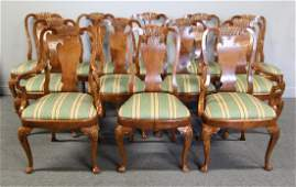 Fine Quality Set of 12 Mahogany Q.A. Style Dining