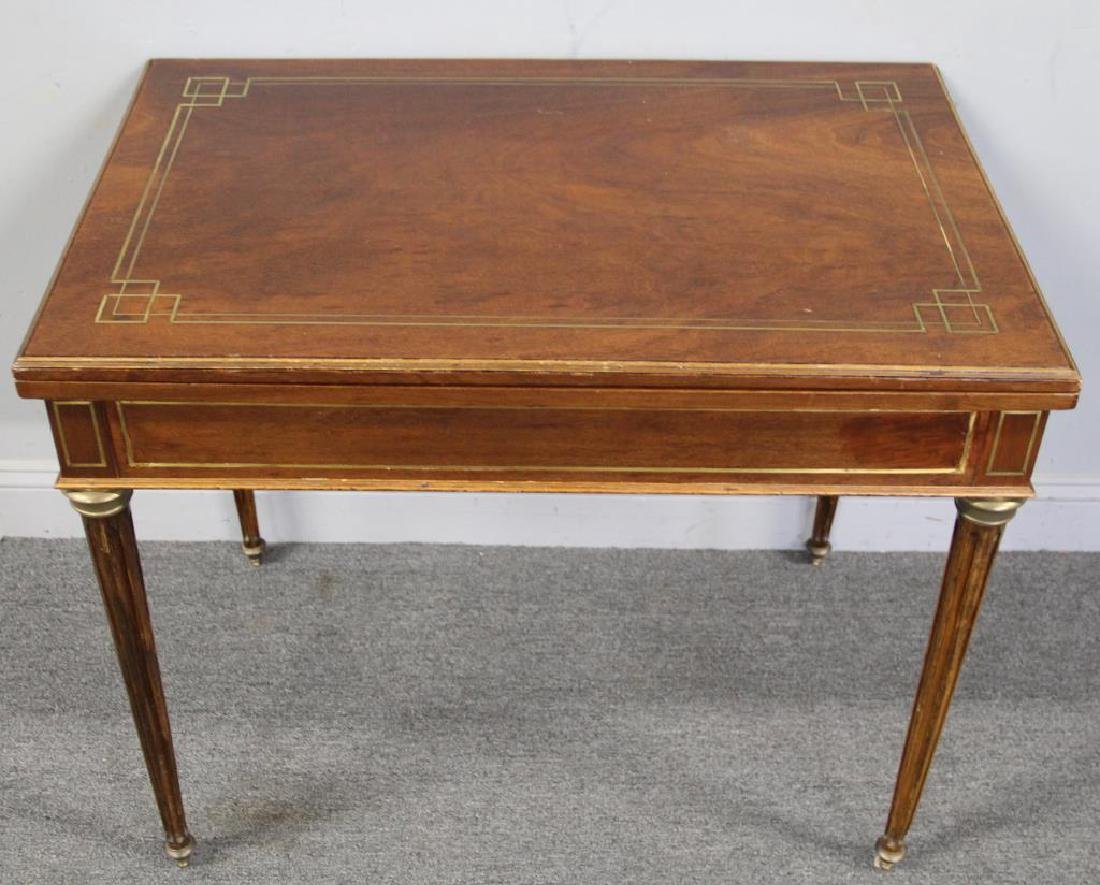 Louis XVI Brass Inlaid Lift Top Game Table. - 2