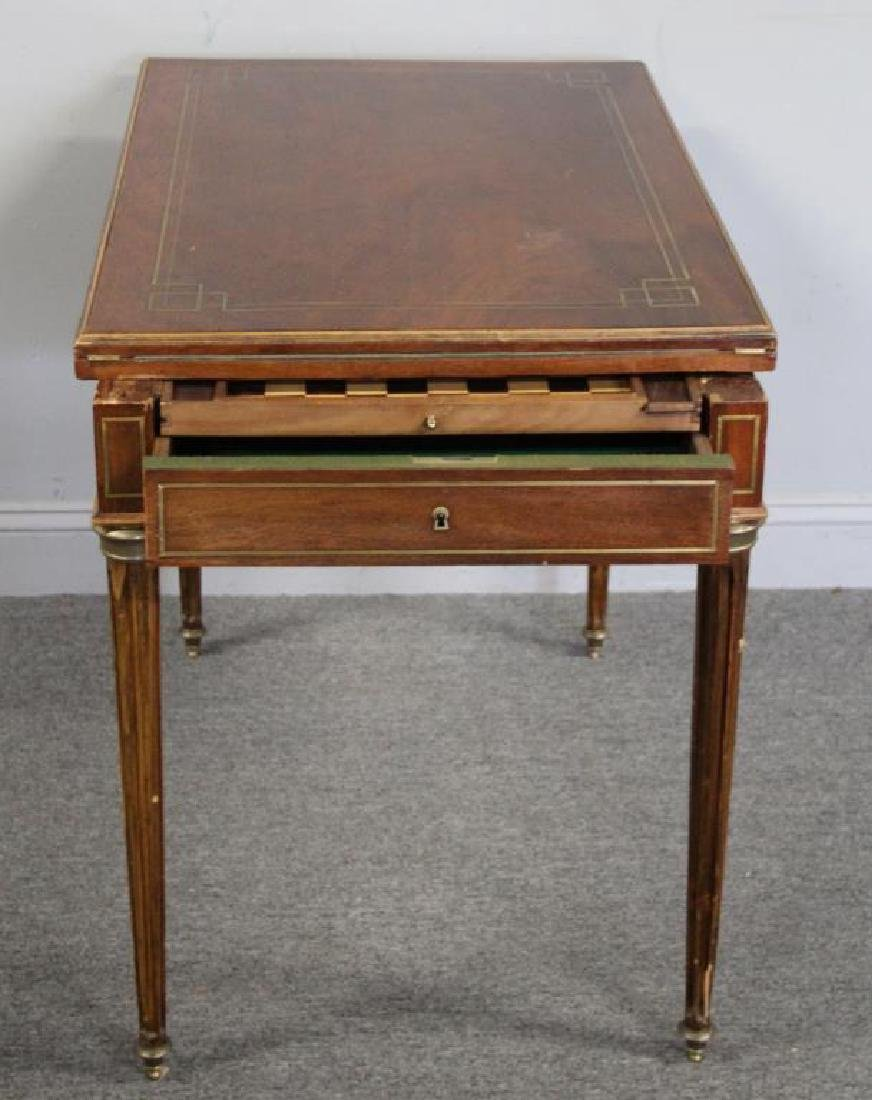 Louis XVI Brass Inlaid Lift Top Game Table. - 7