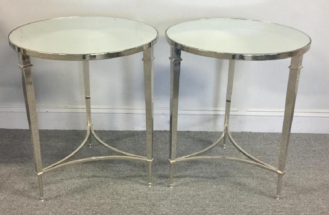 Pair of Decorative Nickel and Mirror Top Tables.