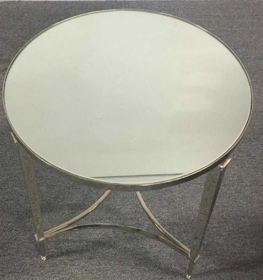 Pair of Decorative Nickel and Mirror Top Tables. - 2