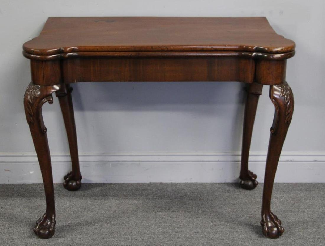 Chippendale Mahogany Flip Top Game Table.