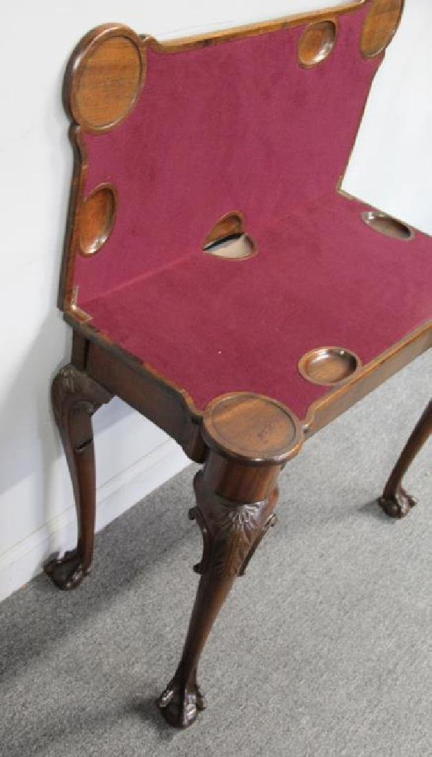 Chippendale Mahogany Flip Top Game Table. - 5