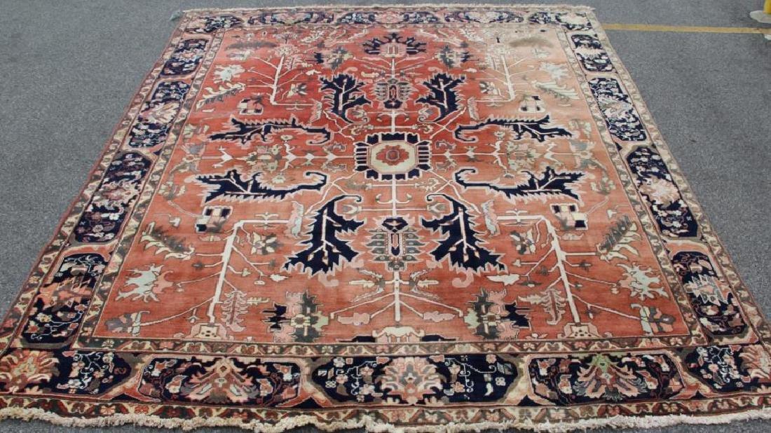 Vintage Heriz Finely Woven Roomsize Carpet.