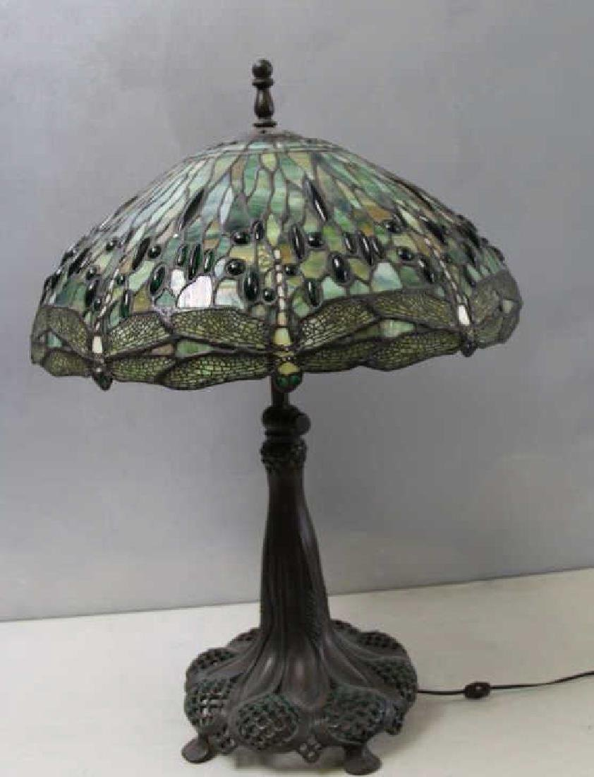 Quality Vintage Tiffany Style Leaded Glass Table.