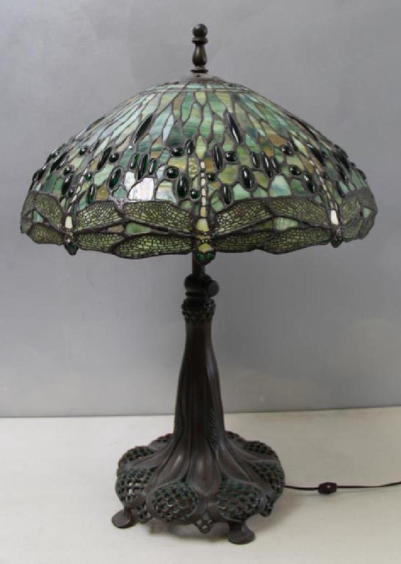 Quality Vintage Tiffany Style Leaded Glass Table. - 2