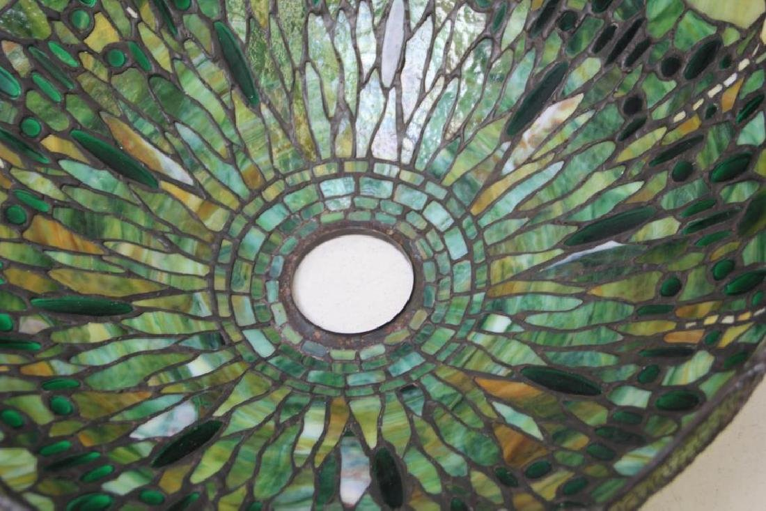 Quality Vintage Tiffany Style Leaded Glass Table. - 4
